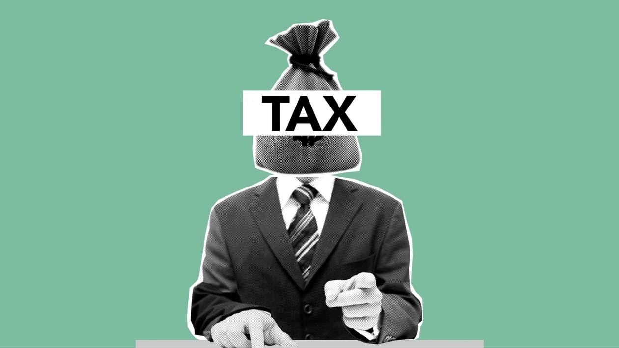 Illustration of man with money bag of taxes on neck