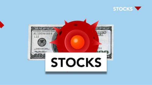 Stocks Icon On Blue Background