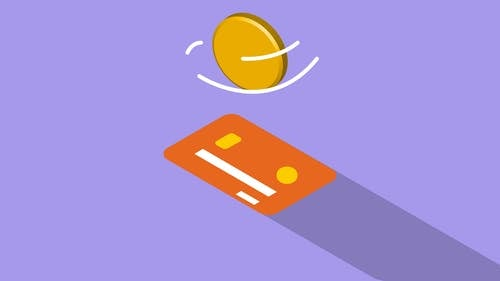 Creative graphic illustration of golden coin spinning above credit card on violet background