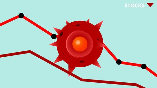 Vector image of red Covid virus against decreasing line graph on blue background