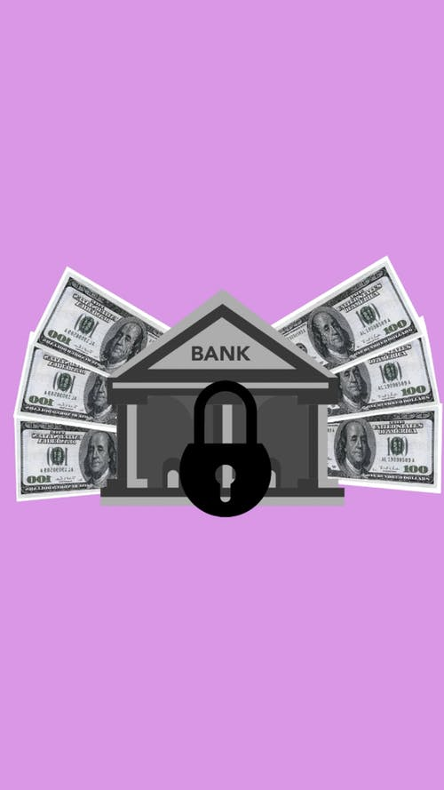 Illustration of lock placed on bank image