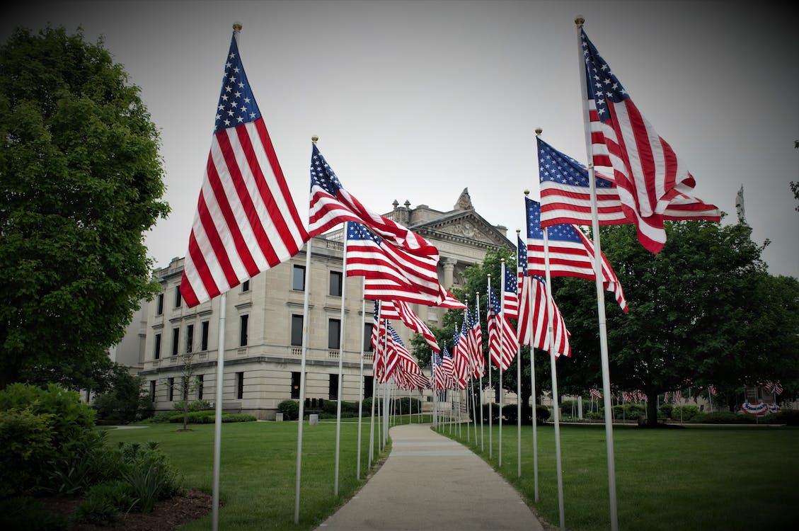 Us Flags on Flag Poles