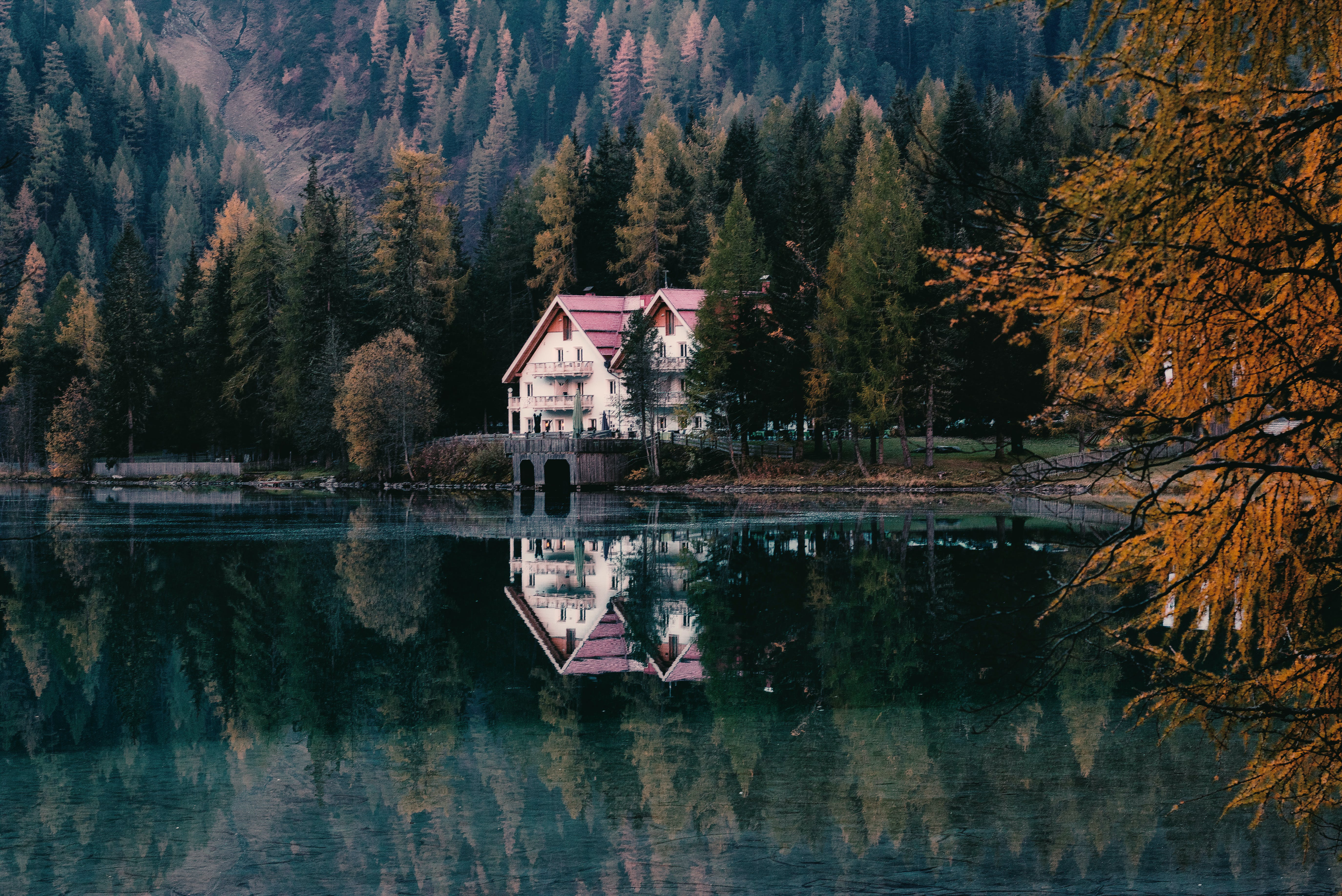 architecture, autumn, calm waters