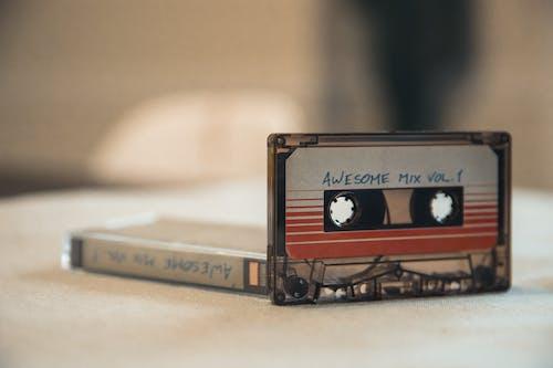 Retro music audio cassettes on table