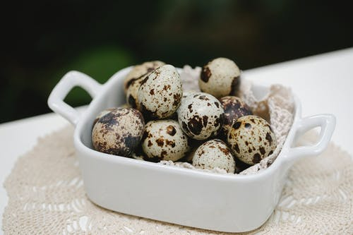 From above of quail eggs with spots placed in white ceramic form on table in daytime