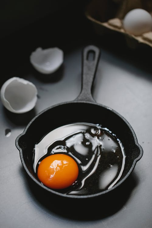 Raw yolk and white in pan before preparing fried egg
