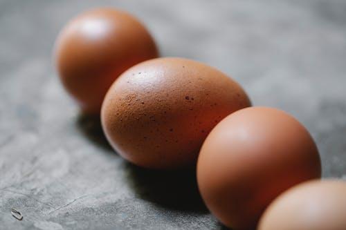 2棕色雞蛋上的灰色紡織