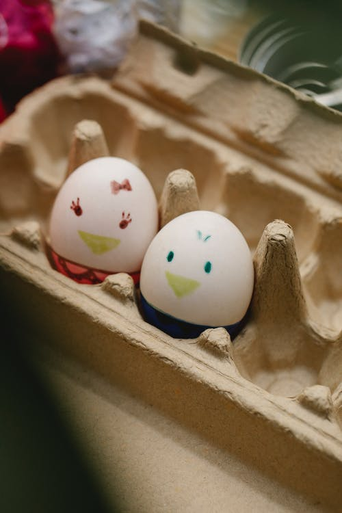 Easter eggs with funny faces