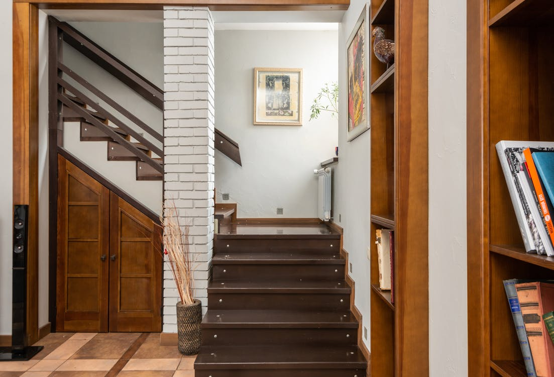 Modern staircase in spacious apartment