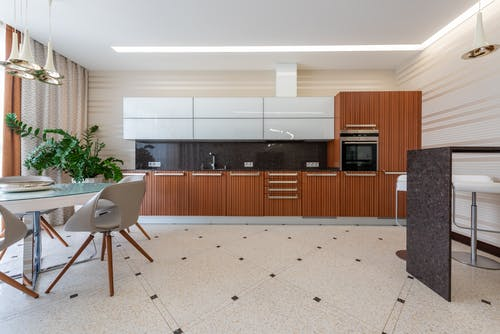 Contemporary kitchen with modern appliance and black counter with wooden cupboards placed near table with chairs and green potted plant on tiled floor