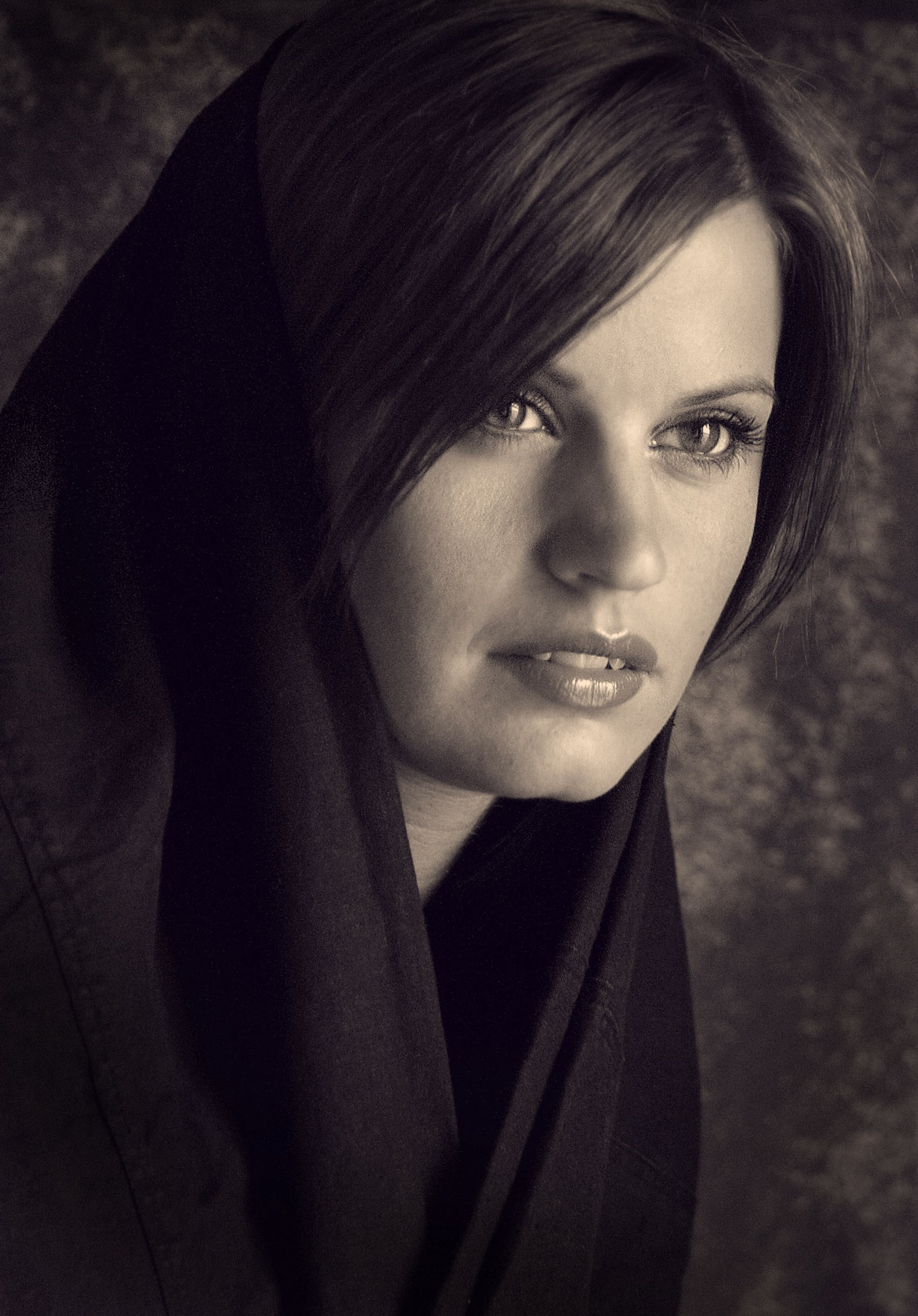 Woman Wearing Black Shawl