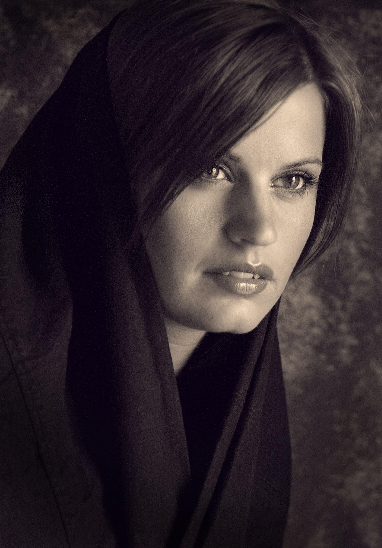 Woman Wearing Black Shawl