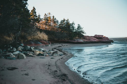 Scenic seascape with sandy coast and rocky cliff