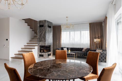 Stylish interior of apartment with table