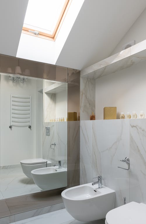 Modern bathroom interior with bidet