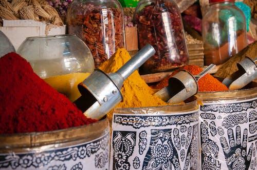 Assorted aromatic condiments in traditional bazaar