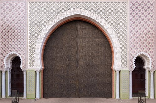 Ornamental facade of traditional Moroccan palace