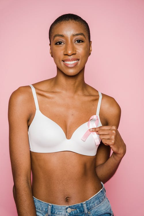 Woman In White Brassiere Smiling