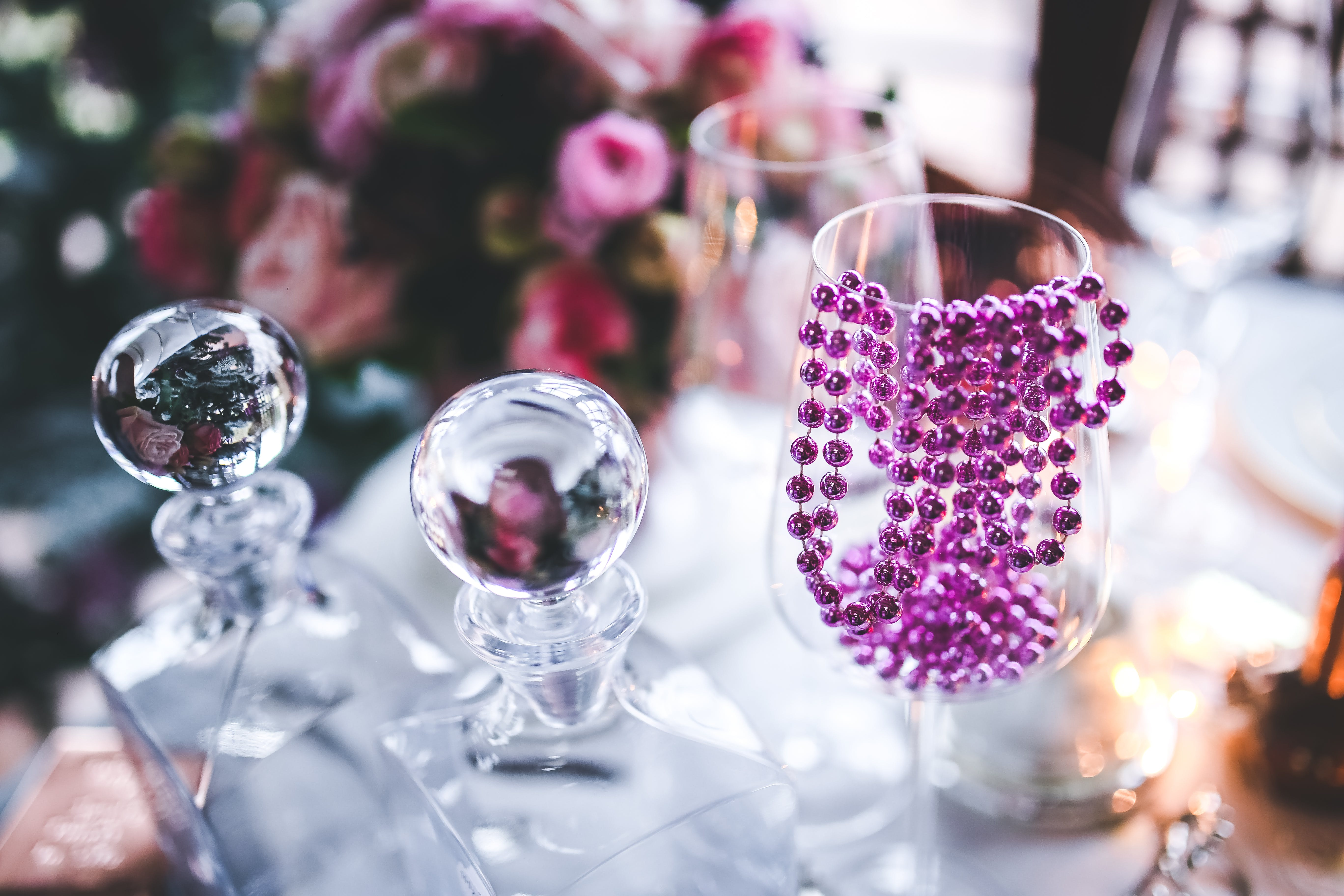 Pink Decoration on Wine Glass