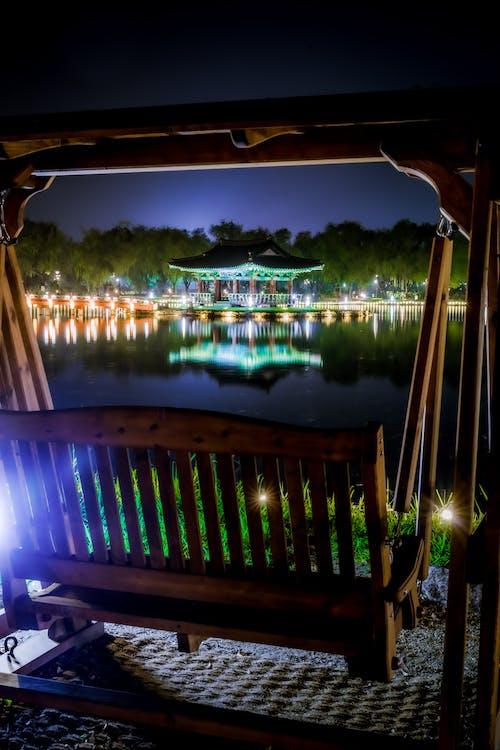 夜景, 湖, 長時間露光の無料の写真素材