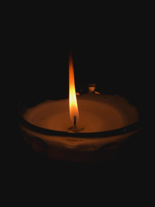 Close-Up View of a Lighted Candle