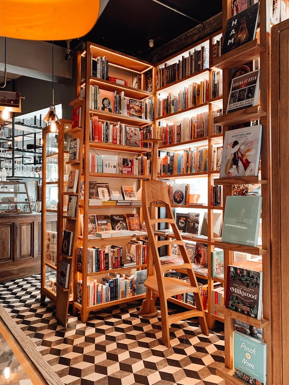 Wooden ladder placed near opened shelves with collection of various literature in traditional bookshop