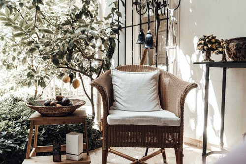Wicker chair with cushion placed near lemon tree