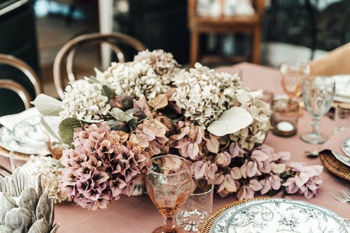Elegant banquet table decorated with flowers