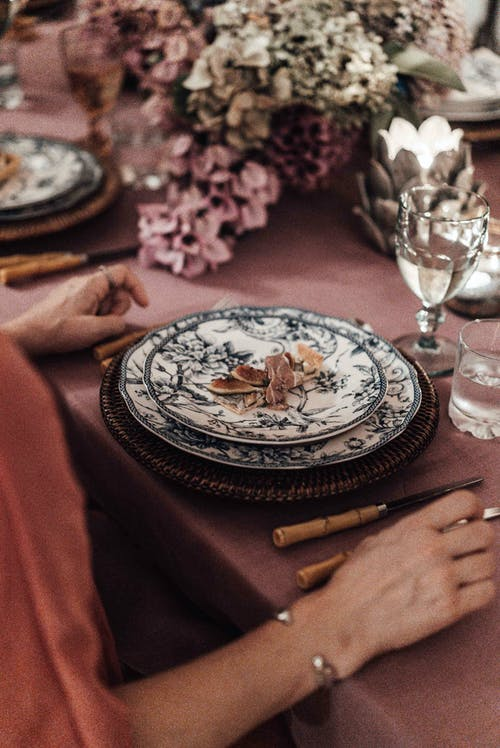 White and Black Floral Ceramic Round Plate