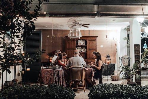 Family having dinner in dining room
