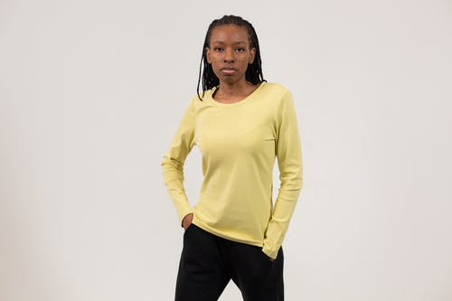 Confident black woman in casual comfy outfit