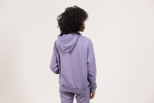 Man in Purple Long Sleeve Shirt