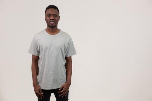 Confident black man in studio