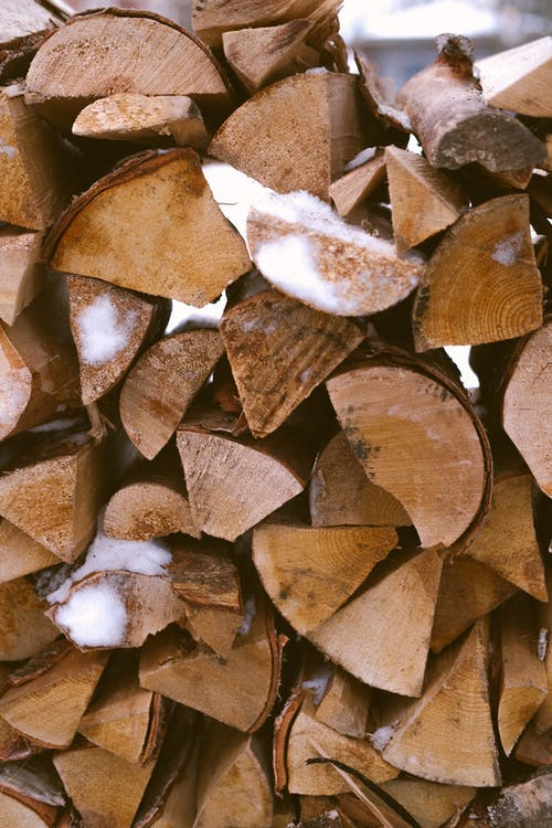 Brown and White Wood Logs