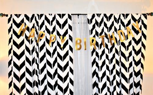 Black and White Rod Pocket Curtain With Happy Birthday