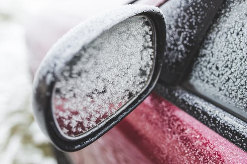 Frozen rearview mirror of the car