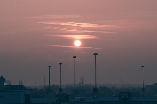 Free stock photo of sunrise, morning sun, hazy, parking deck