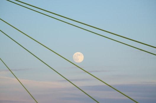 Free stock photo of sky, bridge, moon, blue sky