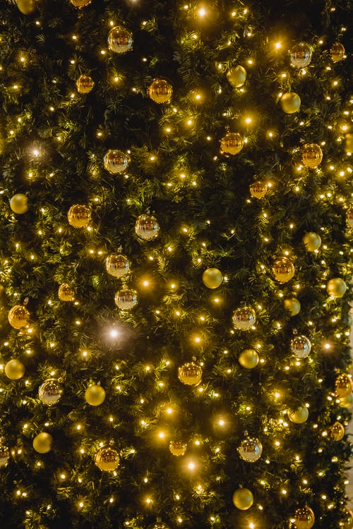 Shiny bright garland with golden shimmering baubles on green Christmas tree on festive event