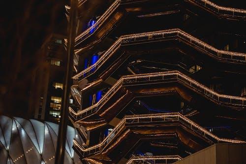 Modern building with illuminated lights at night