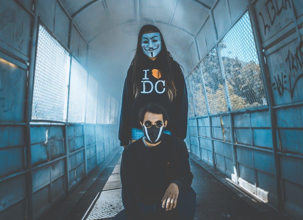 Girl Wearing Guy Fawkes Mask