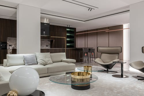 Stylish studio apartment with living room and kitchen