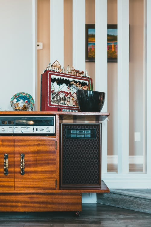 Retro furniture of radiogram with decor at home