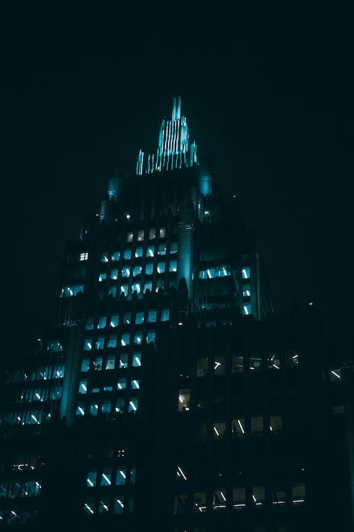 야간 흑백 고층 빌딩