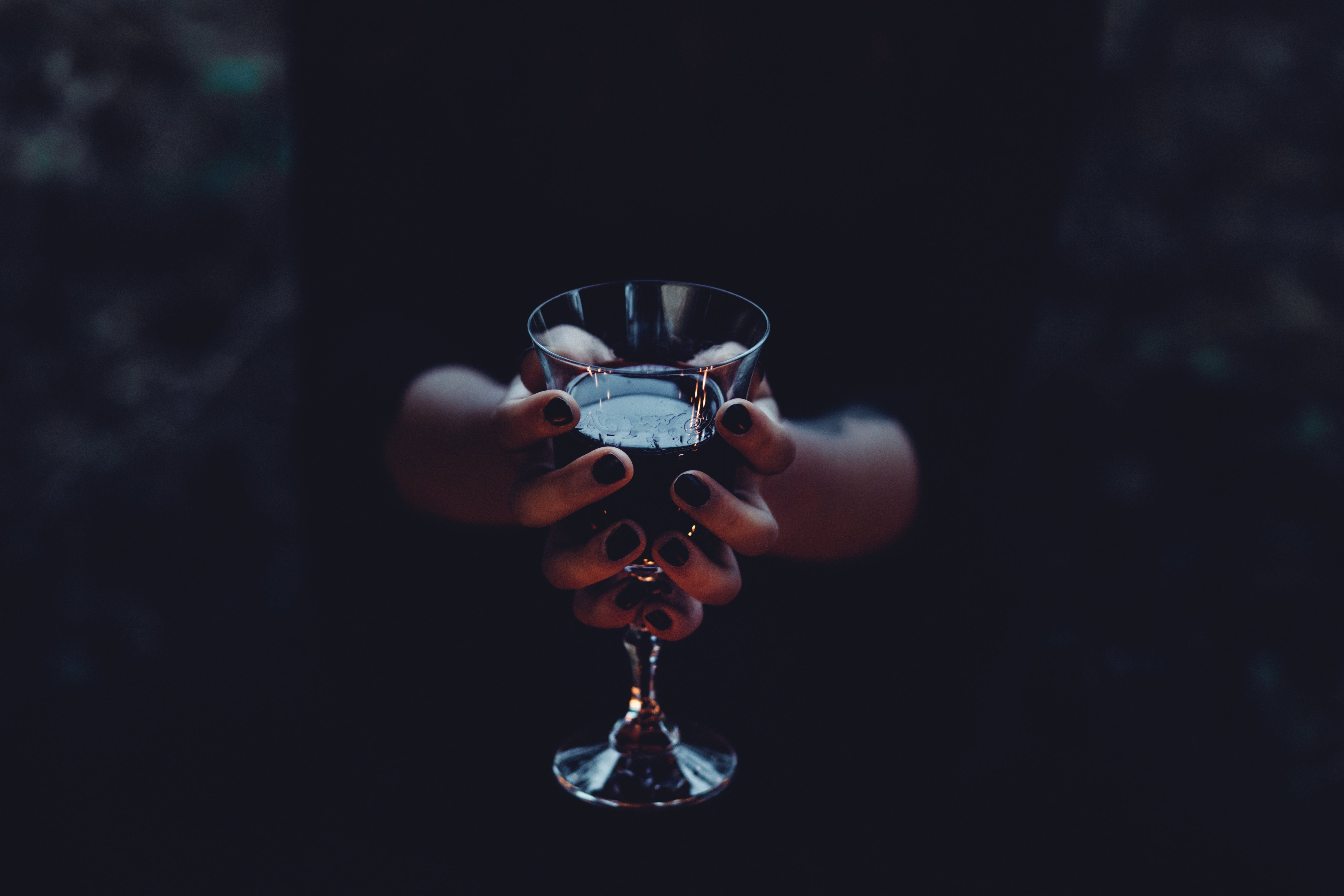 Woman Hold Clear Wine Glass