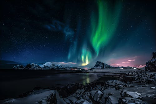 Northern Lights over the Mountains during Night Time