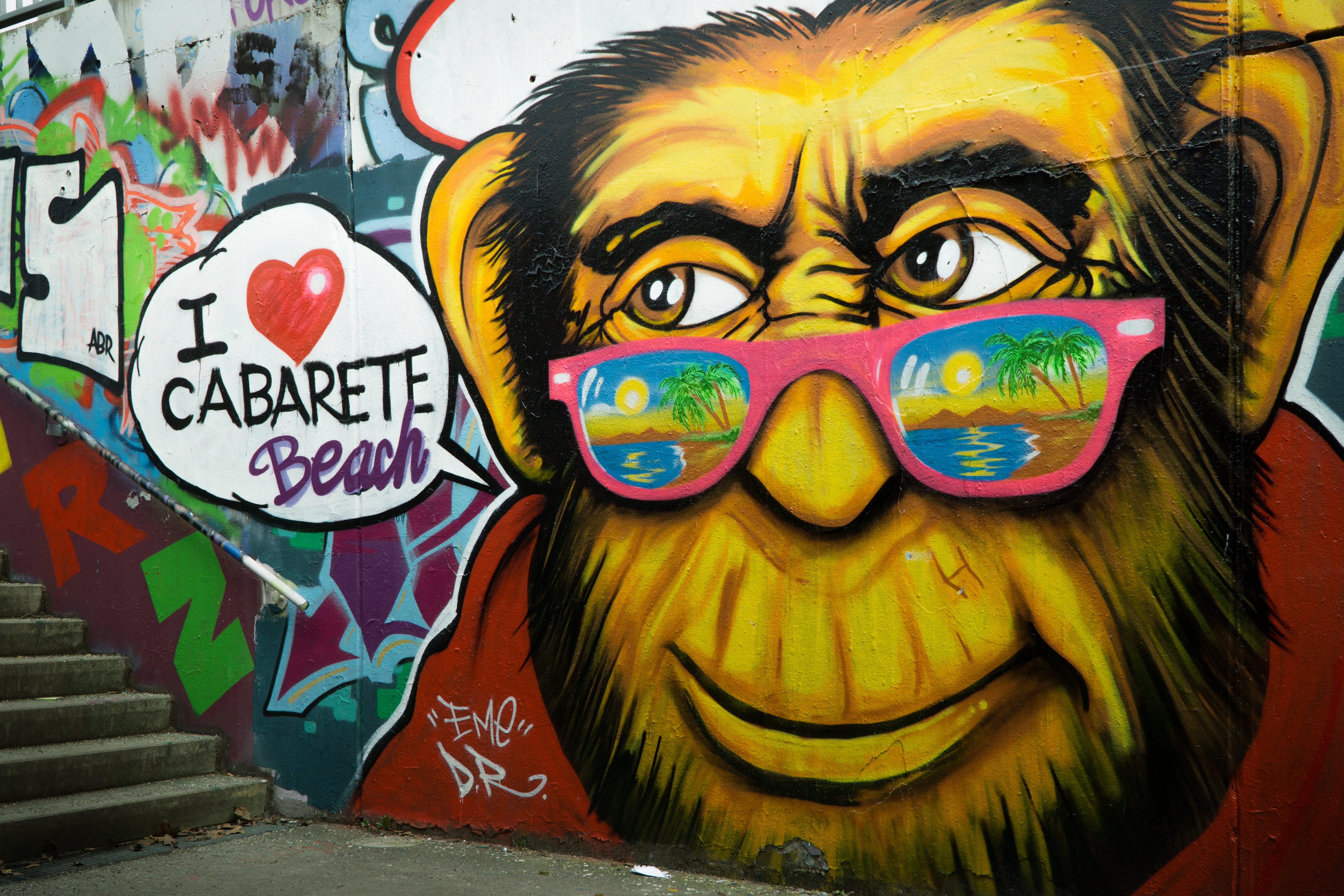 Gorilla Wearing Pink Sunglasses Graffiti