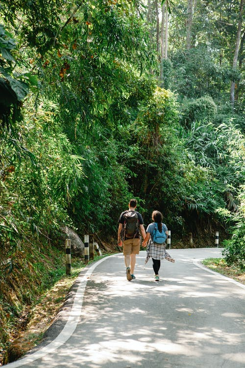 Unrecognizable couple walking along alley in jungle on sunny summer day