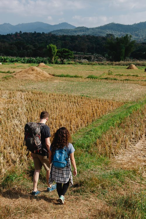 Back view full body of unrecognizable couple of tourists in casual outfits with backpacks walking on grassy path near meadow with grass and trees with mountains on background in daytime