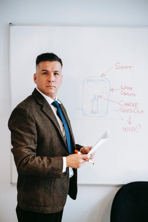 Man In Brown Suit Jacket Memegang Kertas Printer Putih